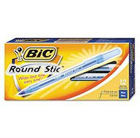 BIC - Round Stic Ballpoint Stick Pen Blue Ink, Fine - Dozen