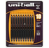 uni-ball 207 Gel Pens - Black Ink - 10 pk.