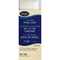 Wrights 1/2 inch Twill Tape, 3 yards, WHITE