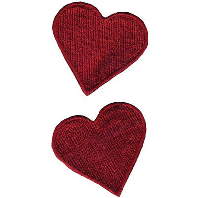 Wright's Wrights Iron-On Appliques-Red Hearts 1-3/4 X1-3/4 2/Pkg