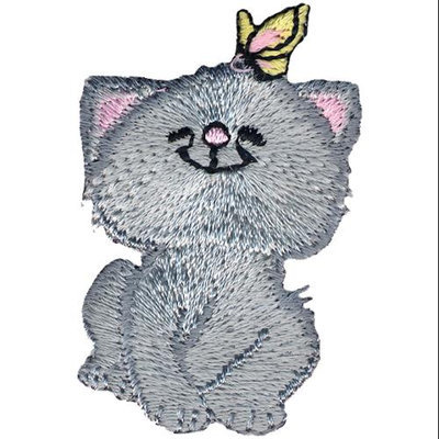 Wright's Wrights Iron-On Appliques-Cat W/Butterfly 2 X1-1/4 1/Pkg
