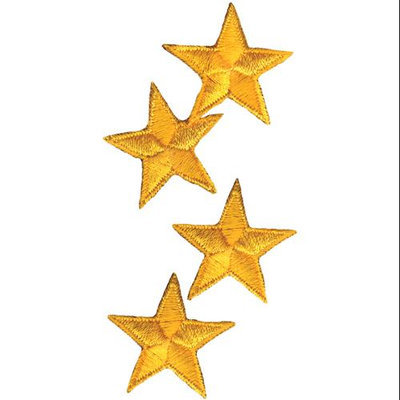 Wright's Wrights Iron-On Appliques-Yellow Stars 1-1/4 4/Pkg