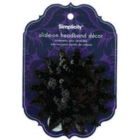 Bulk Buys Simplicity Black Sequin Starburst Slide On HeadBand Decor Pack Of 24