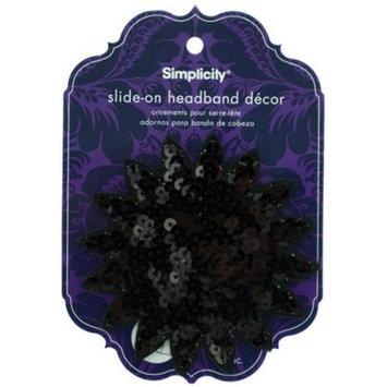 Bulk Buys Simplicity Black Sequin Starburst Slide On HeadBand Decor Pack Of 24