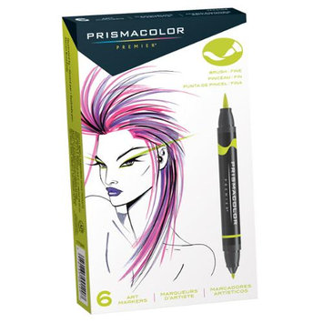 Prismacolor SN1773104 6-Color Double-Ended Brush Markers Set