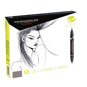 Prismacolor SN1773299 12-Color Cool Grey Double Ended Brush Markers Set