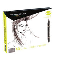 Prismacolor SN1773298 12-Color Warm Grey Double Ended Brush Marker Set
