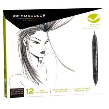 Prismacolor SN1773300 12-Color French Grey Double Ended Brush Marker Set