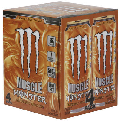 Monster Muscle Peanut Butter Cup Energy Shakes, 15 fl oz, 4 pack