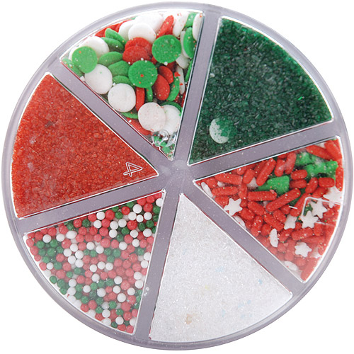 Wilton CHRISTMAS HOLIDAY SPRINKLES 6 CELL MIX Cake Gift Cupcake