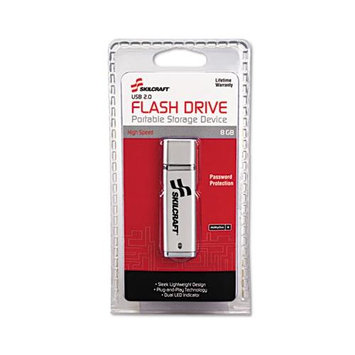 SkilCraft USB Flash Drive, Password Protected, 8GB, Silver. Each