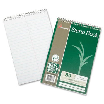 Skilcraft Wirebound Steno Notebook - 80 Sheet - 16.00 Lb - Gregg Ruled - 6 X 9 - 6 / Pack - White Paper (nsn-6002030)