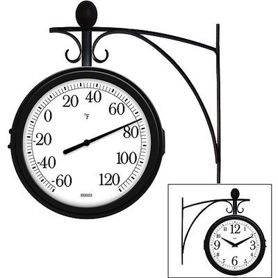 Springfield Double Sided Hanging Wall Clock and Thermometer