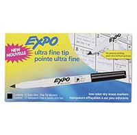 Expo Low Odor Dry-Erase Markers, Ultra Fine, Black, Dozen