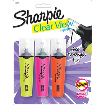 Sharpie Clear View Highlighters 3/Pkg-Yellow, Pink & Orange