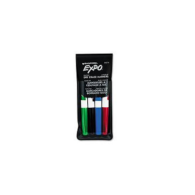 EXPO Dry Erase Markers, Fine Point, Assorted, 4/Set