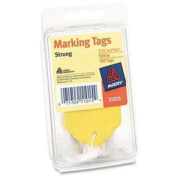 Avery Marking Tags, Paper, 2 3/4 x 1 11/16, Yellow, 100/Pack