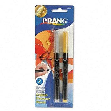 Prang Brush Pens, Flexi-Tip, Gold/Silver, 2/set