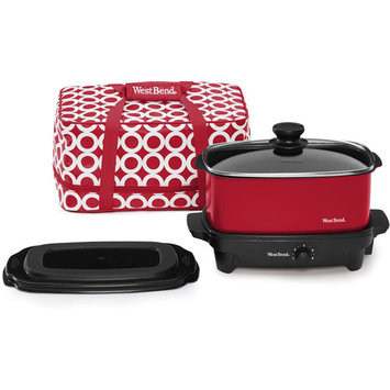 West Bend 5qt Slow Cooker w/ Insulated Travel Tote Blue
