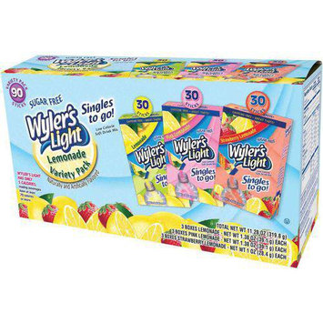 Wyler's Singles to Go Light Sugar Free Lemonade Drink Mix Variety Pack, 90 count, 11.28 oz