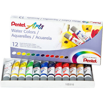 Pentel Watercolors 5ml, Assorted Colors, 12/pkg