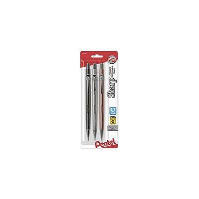 Pentel Sharp Mechanical Drafting Pencil, 0.7mm, Black Lead, Assorted Barrel Colors, 3pk.