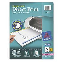 Avery Dennison Direct Print Unpunched Dividers, Five-Tab, Letter, White, Four Set per Pack