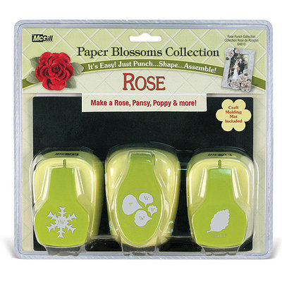 Mc Gill Paper Blossoms Punch Set/3 With Molding Mat-Rose
