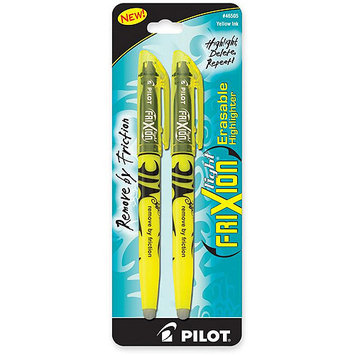 Pilot Highlighters Erasable Highlighter, Chisel Point, 2/PK, Yellow