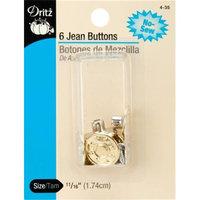 Dritz 12875 No-Sew Jean Buttons 5-8 in. 6-Pkg-Gilt