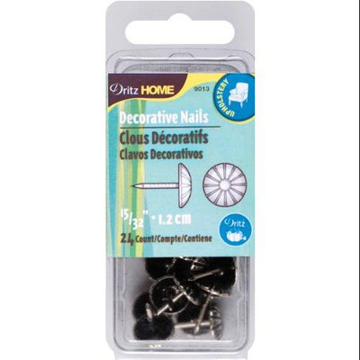 Dritz 101390 Upholstery Decorative Nails 7-16 in. 24-Pkg-Antique Brass Daisy Head