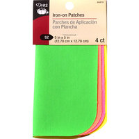 Dritz Iron-On Poplin Patches 5inX5in 4/Pkg-Assorted Neon