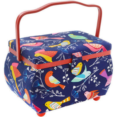 Prym Sewing Basket Rectangle 10.5inX6inX7in Birds On Blue