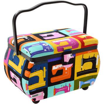 Prym Sewing Basket Rectangle 10.5inX6inX7in Sewing Machines On Black