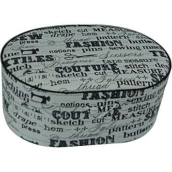 Prym Sewing Basket Oval 9inX6.25inX3.625in Black On Cream Print