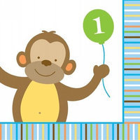 Baby Animals 1st Birthday Boy Beverage Napkins (16-pack)