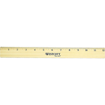 Westcott Flat Wood Ruler w/Two Double Brass Edges