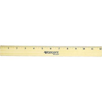 Westcott Flat Wood Ruler w/Two Double Brass Edges