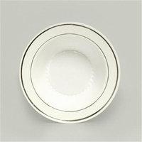 Maryland Plastics Regal PKG-R20012SVR 12 oz. Plastic Bowl With Silver Trim 12 Ct. White Pack Of 4