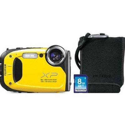 Fuji FinePix 600012721 XP60 16.4 Megapixel Digital Camera Bundle with Case and 8GB SD Card - 5x Optical/2x Digital - 2.7-inch LCD Display - 140mm Focal Length - Yellow
