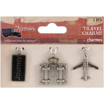 7 Gypsies 7G12676 Travel Metal Charms 1X.5 To 1X1.25 3/Pkg-Journey Tag Suitcase & Airplane