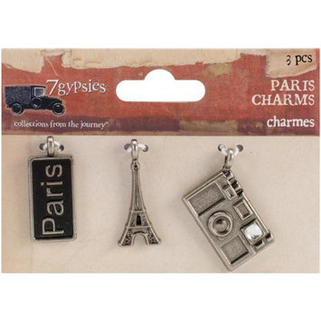 7 Gypsies 7G12677 Paris Metal Charms 1X.5 To 1X.75 3/Pkg-Paris Tag Eiffel Tower & Camera