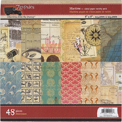 7 Gypsies 7G19508 Maritime Double-Sided Paper Pad 8 in. X8 in. 48-Sheets-6 Designs-8 Each