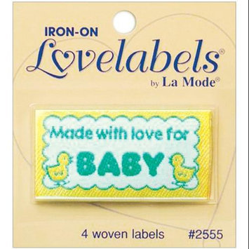 Blumenthal Lansing 102062 Iron-On Lovelabels 4-Pkg-Made With Love For Baby