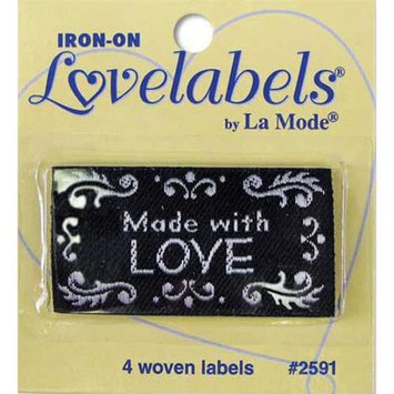 Blumenthal Lansing 2500-2591 Iron-On Lovelabels 4-Pkg-Made With Love -Black