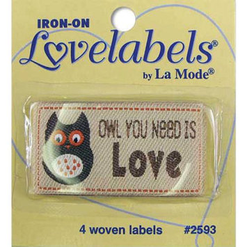 Blumenthal Lansing Iron-On Lovelabels 4/Pkg-Owl You Need Is Love
