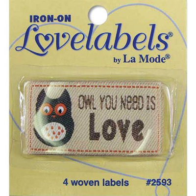 Blumenthal Lansing Iron-On Lovelabels 4/Pkg-Owl You Need Is Love