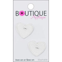 Blumenthal Lansing A001300-203 Iron-On Appliques-White Hearts 2-Pkg