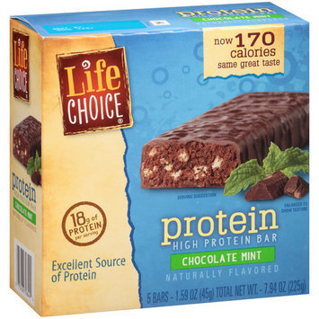 Life Choice Protein Chocolate Mint High Protein Bars, 1.59 oz, 5 ct
