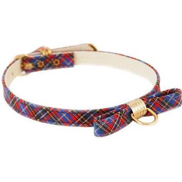 Pet Supply Imports Plaid Blue Scotch Adjustable Fancy Dog Collar w/ Bow, 14 Inch